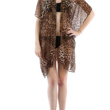 Brown Leopard Print Sheer Cover Up Poncho