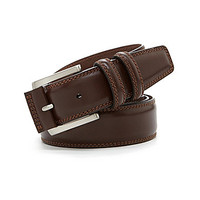 Roundtree & Yorke Big & Tall Contrast-Stitch Casual Belt - Luggage