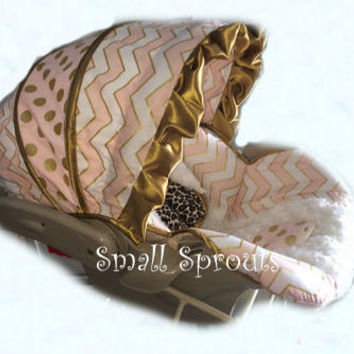 Goldie~Gold & Pink Chevron/Polka Dot With Ivory MInky Rosette and a touch of cheetah minky infant baby 5 piece car seat cover set
