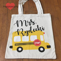 Teacher Bag, Personalized Teacher Bag, Teacher Tote, Bus Teacher Bag, School Bus, Custom Teacher Bag, Teacher Gift, School Bus Tote