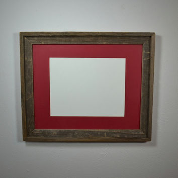 Recycled wood frame 16x20 with red 11x14 mat