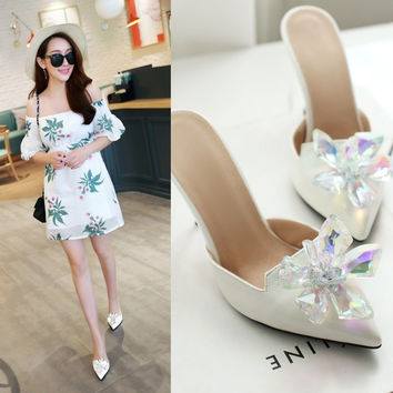 Summer Shoes Korean Princess Crystal Floral Decoration Club Plus Size Slippers [4920247172]