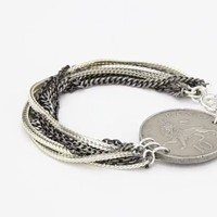 "Ax + Apple ""Dakota"" Vintage Coin Mixed Silver-Plated Chain Bracelet: Jewelry: Amazon.com"