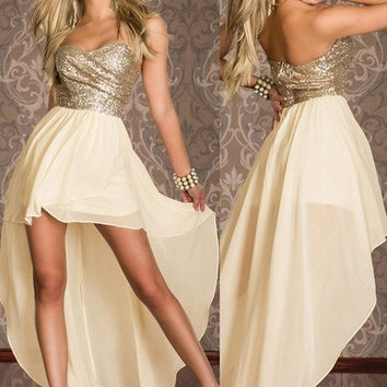 Sequins Strapless Cocktail Chiffon Dress = 1931755076