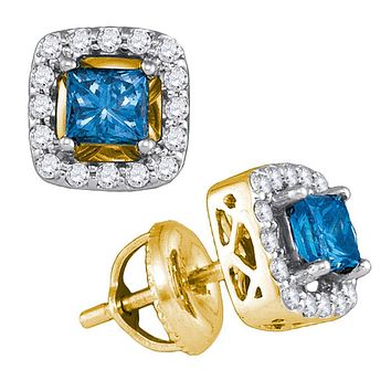 10kt Yellow Gold Womens Princess Blue Colored Diamond Stud Earrings 3/4 Cttw