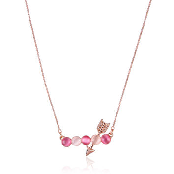 Cupid Love Arrow Moonstone Crystal Necklace