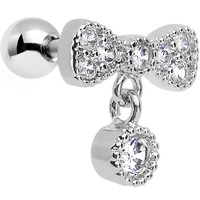 Clear CZ Gem Bowties are Back Dangle Tragus and Cartilage Earring