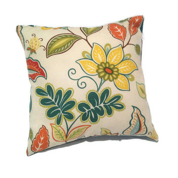 Decorative Throw Pillow, Floral, Teal,  White, Green, Yellow, Orange, Red, Home Decor, Accent Pillow, Toss Pillow, 100% Cotton