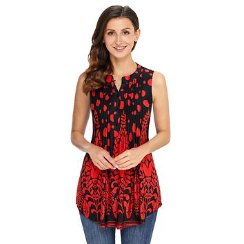 Z| Chicloth Red Black Floral Print Ruched Tank Top