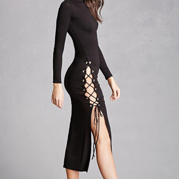 High-Neck Lace-Up Dress
