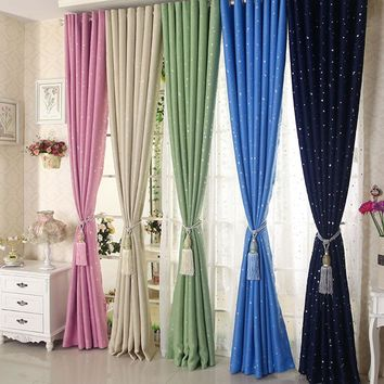 Modern Stars Blackout Elegent Bule Drapes Cortinas Para Sala Window Curtains Bedding Room Living Room For Kids Boys Girls