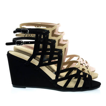Behave Black Honeycomb Cage Sandal w Wedge & Double Ankle Strap, Gladiator Cutouts