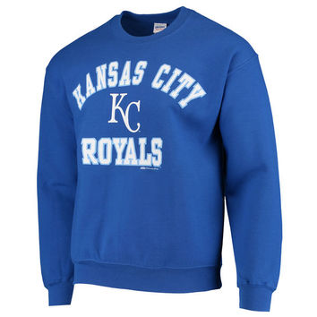 Stitches Kansas City Royals Warning Track Crewneck Sweatshirt - Royal Blue