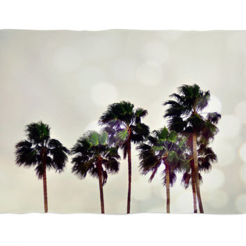 Palm Tree Family - Fleece Blanket, Light Gray Beach Tropical Decor, Surf Style Coastal Home Inerior Furnishing Accent. In 30x40 50x60 60x80