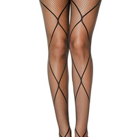 Black Diamond Net Accent Fishnet Pantyhose