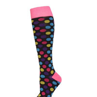 Set of Six Pair-Women's Fashion Designed Knee High Sox. Polka Dots.