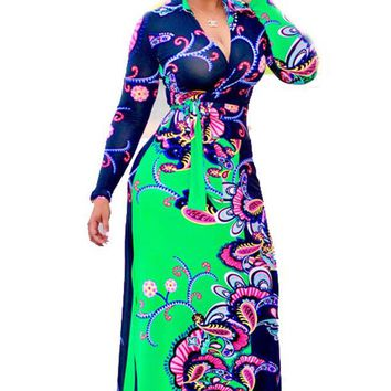 Floral Printed African Long Maxi Dress