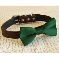 Dark Green dog Bow tie Collar, Pet wedding, Gift, Fall wedding, fashion