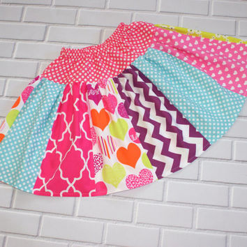 Girls Skirt Size 5 Ready To Ship Hearts Chevron Boutique Clothing By Lucky Lizzy's