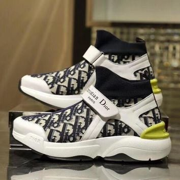 DIOR Fashion Women Casual High top Sneakers Sport running Shoes top quality black white