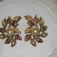 Vintage Sarah Coventry earrings with leaves gold and Pearl Rhinestone jewelry