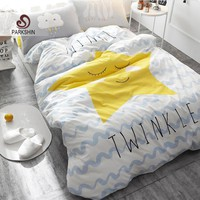 ParkShin Blue Wave With Yellow Star Bedding Set Kid Bedspread Duvet Cover Set 100% Cotton Soft Bed Set With Flat Sheet 4Pcs
