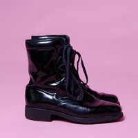 80's patent leather look ankle boots from Mint Vintage  | Mint Vintage