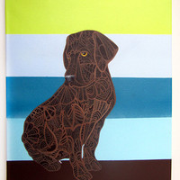 Chocolate Labrador Zentangle Original Painting Canis by MayhemHere
