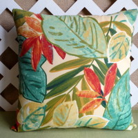 Tropical Garden Outdoor Pillow Cover in Pale Yellow, Orange, Turquoise