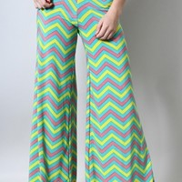 Multicolor Chevron Printed Stretch Palazzo Pants - Seamist Green