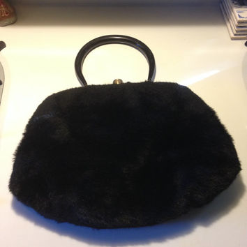 MM Morris Moskowitz Faux Fur Handbag Black Lucite Handle 1950s