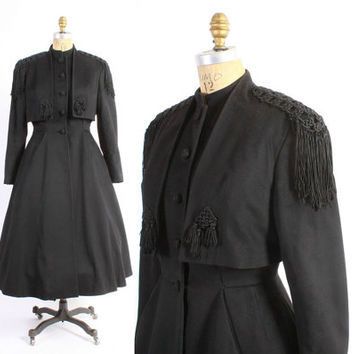 Vintage 40s COAT / 1940s Military Inspired Black Wool FRINGE Fit and Flare Princess Winter Coat s - m