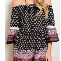Rio In Paradise Off The Shoulder Boho Paisley Lace Romper Jumper