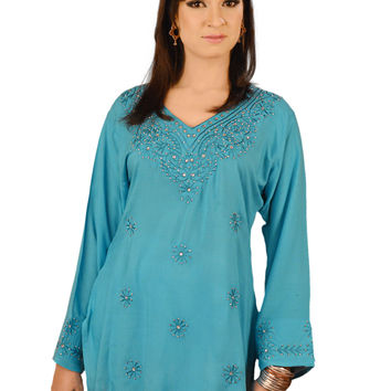 Glamorous Embroidered Kurti Tunic With Glasswork in Various Colors
