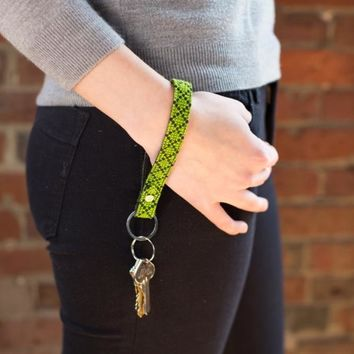 The Lime Leather Key Fob