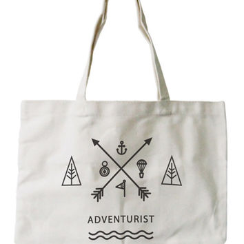 Women's Reusable Canvas Bag- Unique Adventurist Natural Canvas Tote Bag