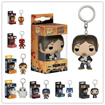 Genuine MFunko POP Vinyl Figure TV Television Walking Dead Daryl Dixon Pocket POP Keychain Action Figure Model With Box IN STOCK