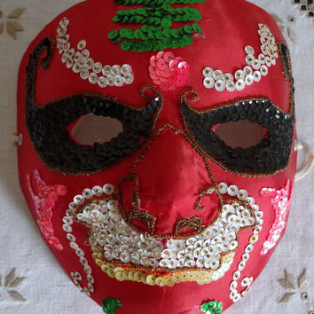 Vintage Asian Mask Red Satin with Sequins Paper Mache- Indonesian Ceremonial Costume-  Ethnic Wall Decor Art- MAN CAVE Collectible Halloween