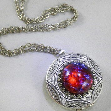 Dragons Breath Fire Opal Locket Necklace