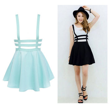 Retro Hollow Mini Skirt with Suspenders
