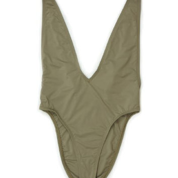 Taupe Plunging Neckline Deep V One Piece Swimsuit