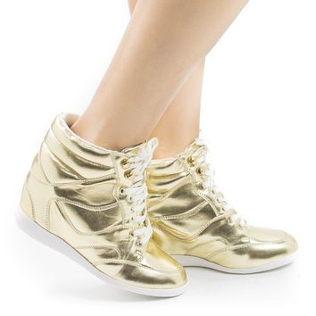 Bethany17 Gold Pu By Bamboo, Lace up Hidden High Wedge Women's Fashion Sneakers