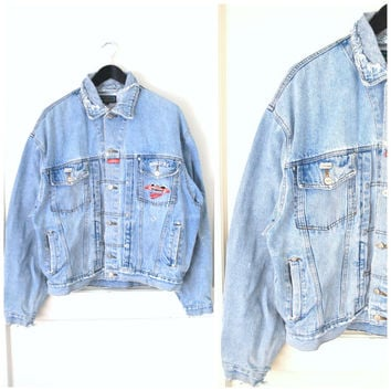 DISTRESSED faded denim jacket vintage 90s GRUNGE Higher State light wash SHREDDED jean jacket large os