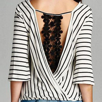 Stripe V-neck Crochet Lace Detail Blouse
