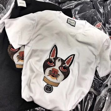 """""""Gucci"""" Women Fashion Embroidery Dog Head Pattern Short Sleeve Casual T-shirt Top Tee"""