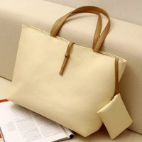 Classical Style Simple Design One Shoulder PU Bag For Women With a Small Bag