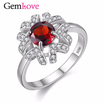 Gemlove Sterling-Silver-Jewelry 1ct Natural Red Garnet Ring Wedding Certificate Silver Rings with Stones with Free Box 40% FJ095