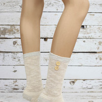 wood button sock Cotton WOMEN SOCKS Ankle Socks,button Socks,Girls Socks,Boots Socks,ladies cotton socks,women's socks- Sock