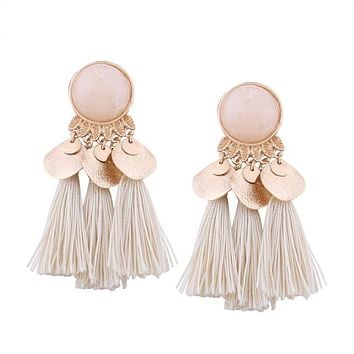 Cream Elegance Luxe Tassel Earrings