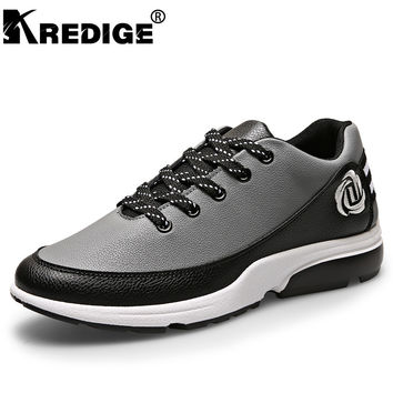 KREDIGE New Breathable Plate Shoes Men Simple Atmosphere Wearable Lace-Up Men Shoes Leather Casual Shoes Excellent Textur 39-44